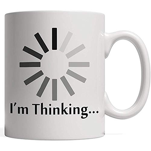 Taza de café que estoy pensando taza de Agrega Estilo A Su Móvil! Regalo de carga, procesamiento y almacenamiento en búfer: ¡para amigos olvidadizos!