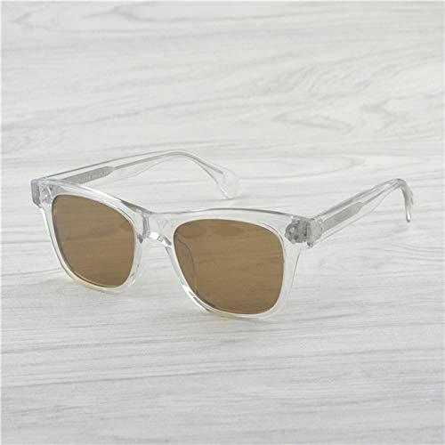 LKVNHP Neue Art UndWeise Qualitäts -Mann -Retro -Sonnenbrille -Frauen -Weinlese -Ronud Sonnenbrille -Frauen Gläser Polarisierte Sonnenbrille MännerKristall Vs Brown