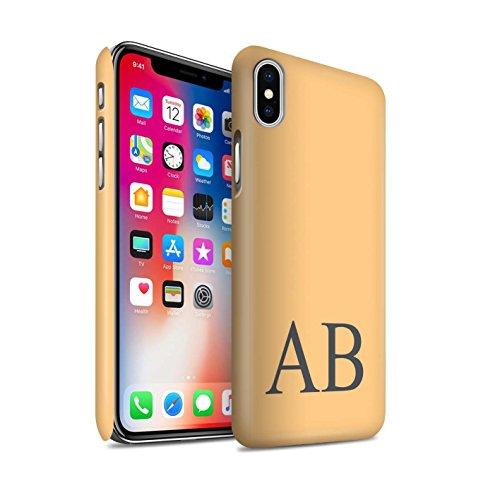 Personalisiert Pastell Monogramm Matte Hülle für Apple iPhone X/10 / Türkis Design / Initiale/Name/Text Snap-On Schutzhülle/Case/Etui Orange