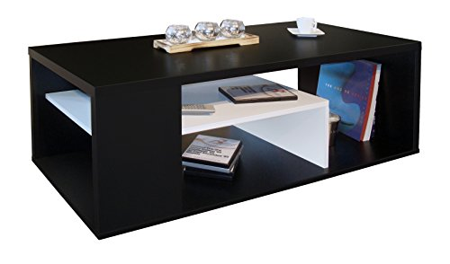 Berlioz Creations Melinga Table Basse Bois Noir et Blanc 111 x 50,5 x 41 cm