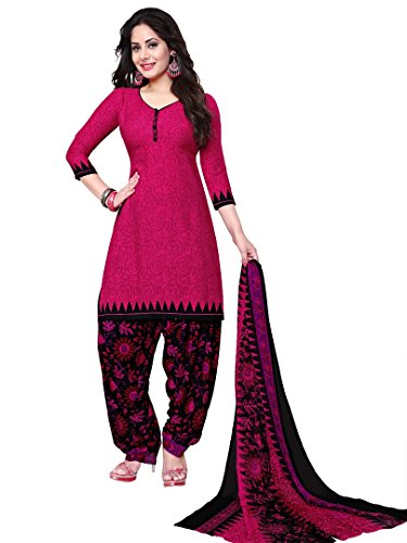 Raghavjee Sarees Women's Crepe Dress Material(Lcx6033_Pink_Free Size)