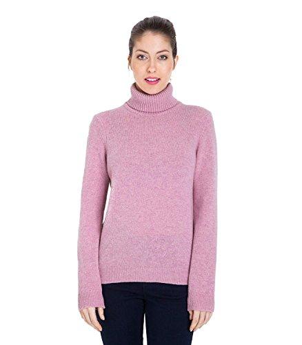 WoolOvers Pull à col roulé - Femme - Laine dagneau Pale Rose