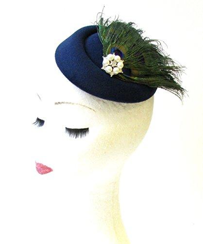 Bleu marine Vert Plume de paon Chapeau bibi courses vintage Cheveux 1309 * exclusivement Vendu par Starcrossed Beauty *