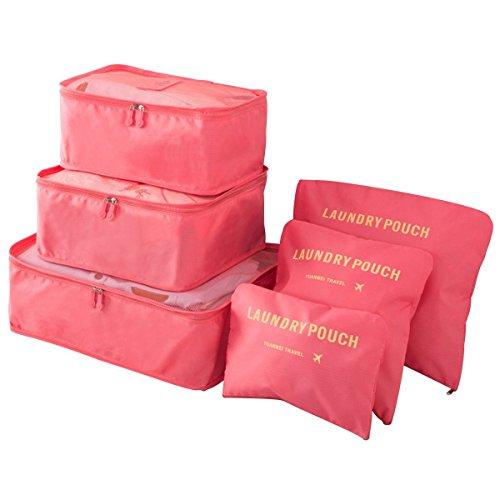 Ediwell Reiseveranstalter Kleidung Verpackung Würfel 6 Stück Reiseveranstalter Verpackung Würfel Gepäck Veranstalter Kompression Schuhbeutel Kosmetik Aufbewahrungstasche Farbwahl (Weinrot) Wassermelonen rot