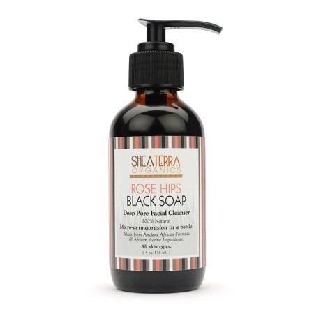 Shea Terra Organics - Rose Hips Black Soap Deep Pore Facial Wash & Mask