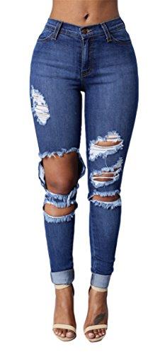 Frauen reizvolle hohe Taillen-Ripped Holes Knopf dünne Stretch-Denim-Hosen Feet Jeans Marineblau