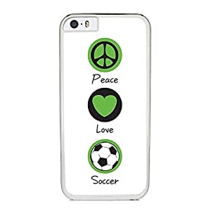 Peace Love and Soccer, Futbol - Case for iPhone 6 Plus, White Silicone Rubber Cover in DDJK Case