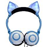 EDTO Gaming-Headset mit Katzenohren für PS4, PC, Xbox One Controller, Geräuschunterdrückung, Mikrofon, LED-Licht, Bass-Surround, weiche Memory-Ohrenschützer für Laptop Mac Nintendo Spiele Blau blau