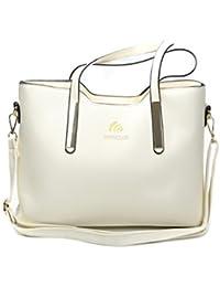 LONGCLASS exklusive Designer Damen Handtasche ELEGANTO fein verarbeitete Mode Tasche mit drei weichen Innentaschen edler Gold Verzierung und Umhängeband, elegante Handtaschen Damen weiß creme pink