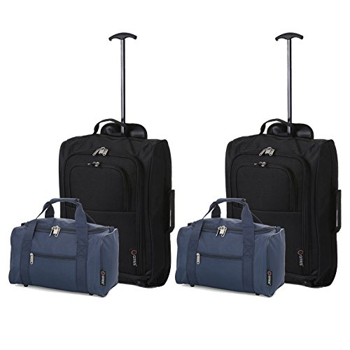 Set di 4 - 2x Ryanair Cabin Approvato 55x40x20 cm e 2x Seconda 35x20x20 bagaglio a mano Set - vai avanti Entrambi gli articoli! (Nero / Marina Militare)