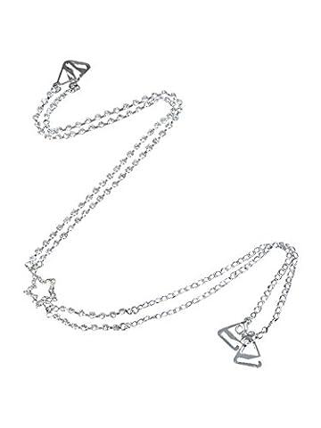 Diamante Bra Straps Single Row Clear Crystal Diamante Cross Back Design Star Detailing - One Pair