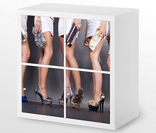 Set Möbelaufkleber für Ikea Kallax 4 Fächer/Schubladen Schuh Sexy Kat3 Schuhe Frau high Heels Kleid Beine Aufkleber Möbelfolie sticker (Ohne Möbel) Folie 25H559 (Schuh Schublade Ikea)