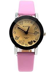 VANKER Dibujos animados muchacha de las mujeres de señora reloj de cuarzo Tiempo Puntero la correa de cuero reloj de pulsera Rosa