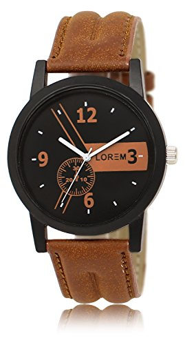 Vastrang Leather Analog Black Dial Men's Watch(LR01_Brown_Boys)