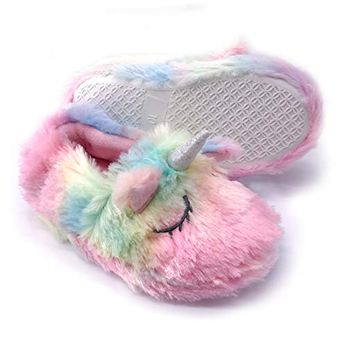 Dream Bridge Kids Slippers Plush for Boys and Girls Colourful Unicorn