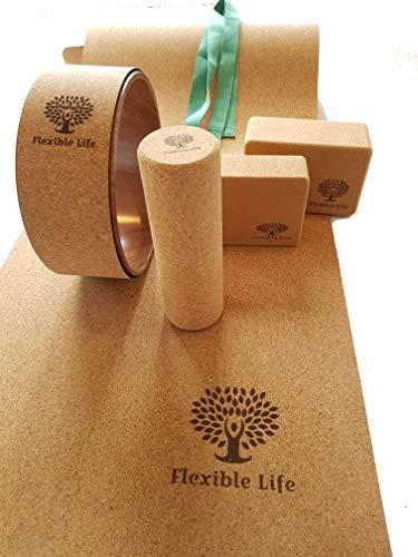 Flexible Life Komplettes Yoga 6 in 1 Starterset aus umweltfreundlichem Kork mit Yoga-Rad