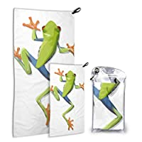 LIANGWE Beautiful Green Tree Frog 2 Pack Microfiber Boy Towels Beach Towel For Bathroom Set Fast Drying Best For Gym Travel Backpacking Yoga Fitnes