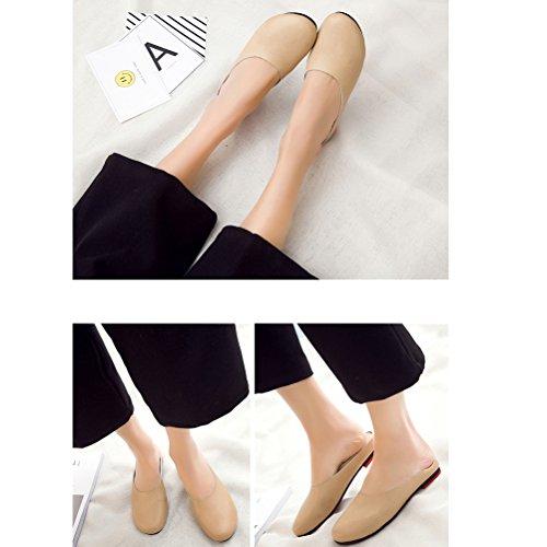 MatchLife Damen Größe EU 34-42 Lederschuhe Pantolette Hausschuhe Beige