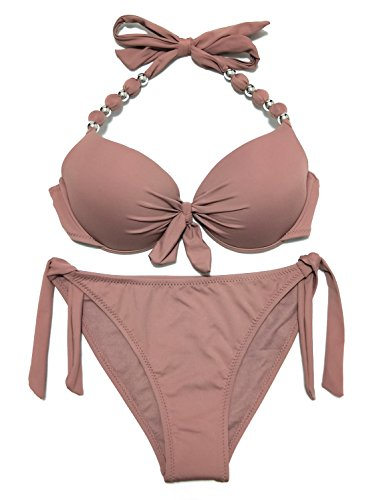 EONAR Damen Seitlich Gebunden Bikini-Sets Abnehmbar Bademode Push-up-Bikinioberteil mit Nackenträger(L,Khaki)