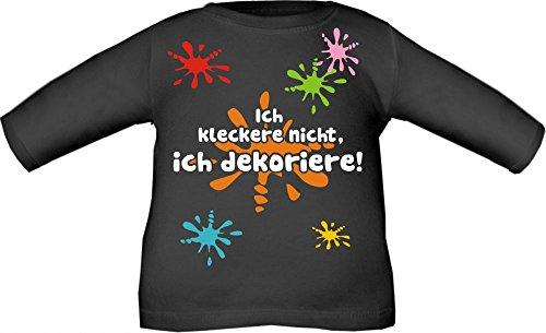 Baby / Kinder T-Shirt langarm mit Druck Ich kleckere nicht ich dekoriere / Größe 60 - 152 in 6 Farben Schwarz