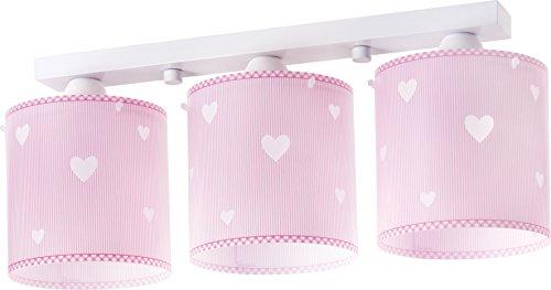 Dalber 62013S Sweet Dreams, Lámpara regleta 3 luces Corazones rosa, E27, Clase de eficiencia energética A++ a C
