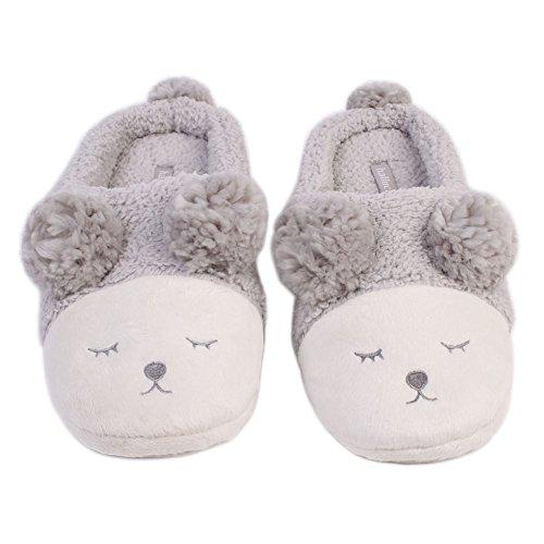 Injersdesigns divertente caldo molle della peluche ripiene Sole pantofole inverno scivolare su Sheep comode comode pantofole vita interna Camera Adulti scarpe piane Regali di Natale (Grigio)