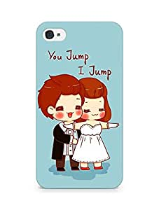 Amez designer printed 3d premium high quality back case cover for Apple iPhone 4 (Cartoon u jump i jump)