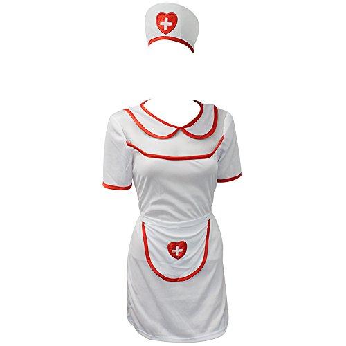 com-four 3-teiliges Kostüm Sexy Krankenschwester in Einheitsgröße, aus Polyester (01 Stück - ()