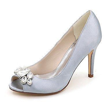 Wuyulunbi@ Scarpe donna raso Primavera Estate della pompa base scarpe matrimonio Stiletto Heel Peep toe strass per la festa di nozze & Sera Argento Rosso Blu Argento