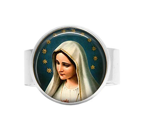 (qws Lady of Fatima Verstellbarer Ring – Jungfrau Maria – Madonna Verstellbarer Ring – Jungfrau Maria mit Sternhalo)