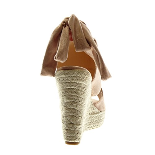 Angkorly Scarpe Moda Sandali Mules Zeppe Peep-Toe Open-Back Donna Nastro Corda Intrecciato Tacco Zeppa Piattaforma 13 cm Rosa chiaro