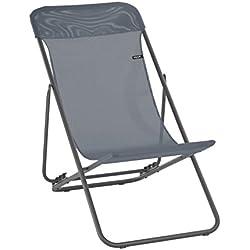 Lafuma LFM2763-8544 - Chaise longue, Pliable et réglable, Transatube 2, Texplast, Couleur: Gris (Silex)- 83x56x94 cm