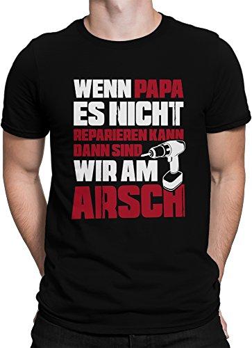 vanVerden Herren Fun T-Shirt Papa Reparieren Vatertag Dad Geschenk Plus Geschenkkarte, Größe:L, Farbe:Schwarz/Rot