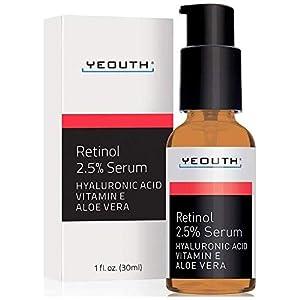 Retinol Serum 2.5% con ácido hialurónico, Aloe Vera, Vitamina E – Aumenta la producción de colágeno, Reduce arrugas, líneas finas – 1 oz – Yeouth