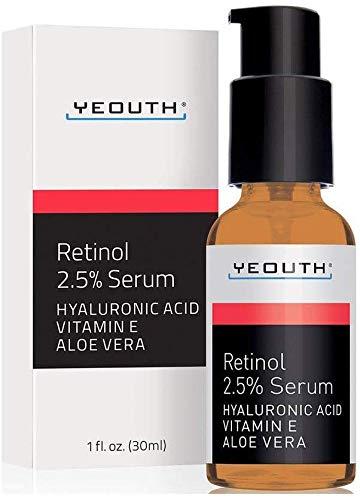 Retinol Serum 2,5% mit Hyaluronsäure, Aloe Vera, Vitamin E - Gleichmäßiger Hautton, Reduktion von Falten, feinen Linien, Altersflecken & Sonnenflecken - 30 ml - YEOUTH