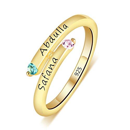 Quiges Damen Personalisiert Gravur Name Drehung Solitär Ring 18 Karat Gold 925 Sterling Silber Zirkonia Geburtsstein Ringgröße 56