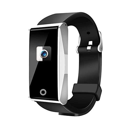 YYH Pulsera deportiva inteligente, cámara Bluetooth impermeable, pulsera de silicona, brazalete de monitorización de la presión arterial con ritmo cardíaco, reloj inteligente con pantalla grande a col