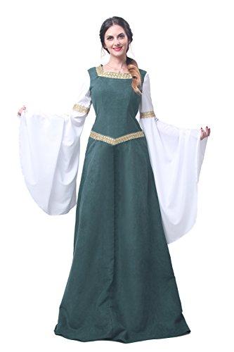 Nuoqi® Damen mittelalterliche Königin Kleid Langarm Maxi Kleid Party Kostüm (M, GC216A-NI-FBA)