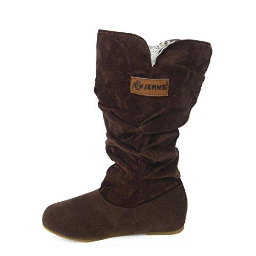 Zapatos de mujer Botas altas de rodilla mujer Botines Mujer Talón plano Bota de moto Nubuck Otoño invierno Delgado Negro Casual Botas LMMVP (40, Café)