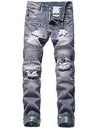 277abfa5a6e9 Celucke Vintage Ripped Jeans Herren mit Flicken Slim Fit Jeanshosen, Männer  Zerrissene Röhrenjeans Löchern Denim