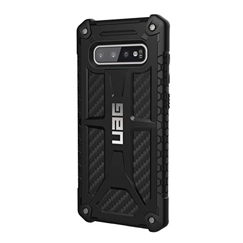Urban Armor Gear Monarch Hülle für Samsung Galaxy S10+/ Plus nach US-Militärstandard [Qi kompatibel, Sturzfest, Verstärkte Ecken, Leder] - Carbon