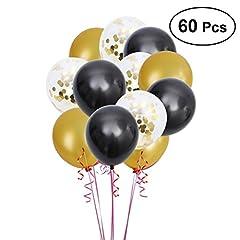 Idea Regalo - TOYMYTOY Palloncini in lattice 12 pollici Palloncini in oro nero Palloncini coriandoli per festa, 60Pcs