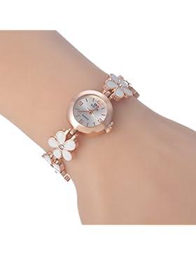 SSITG Rosegold Damenuhr Armbanduhr Armreif Edelstahl Blumen Modeschmuck 20cm