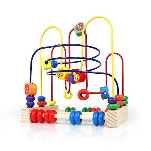 yop Wooden Baby Toys Beads Maze Roller Coaster Abacus Game Activity Cubes Wooden Blocks Bead Frame Wire Toy Set for Kids Boys Girls over 3 Years Old