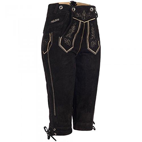 PAULGOS Damen Trachten Lederhose + Träger, Echtes Leder, Kniebund in 3 Farben Gr. 34-50, Farbe:Schwarz, Damen Größe:44