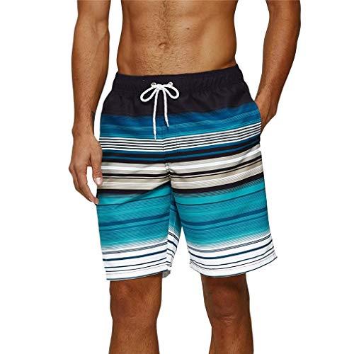 Arcweg Badehose für Herren Lang Mehr Taschen Badeshorts Männer Wasserabweisend Boardshorts Schnelltrocknend Jungen Beachshorts Bermudas mit Tunnelzug Grüne Streifen L(EU)-MarkeGröße XL