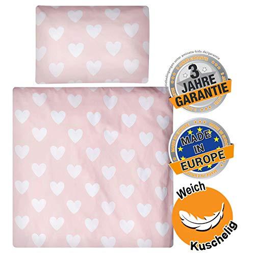 Aminata kids - Wiegen-Baby-Bettwäsche-Set Herzen 80-x-80-cm & 35-x-40 cm Mädchen - Baumwolle - rosa, weiß - kuschelig, für Beistellbett, Sicherheits-Reißverschluss, Öko-Tex, Herz-Motiv