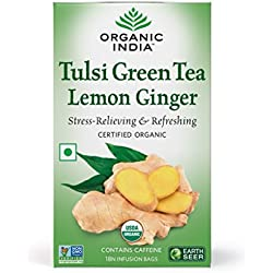 Organic India Tulsi Green Tea, Lemon Ginger - 18 Tea Bags