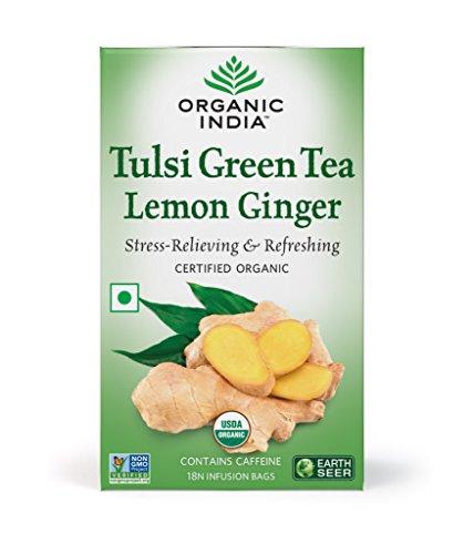Organic India Tulsi Green Tea, Lemon Ginger - 18 Tea Bags  available at amazon for Rs.147