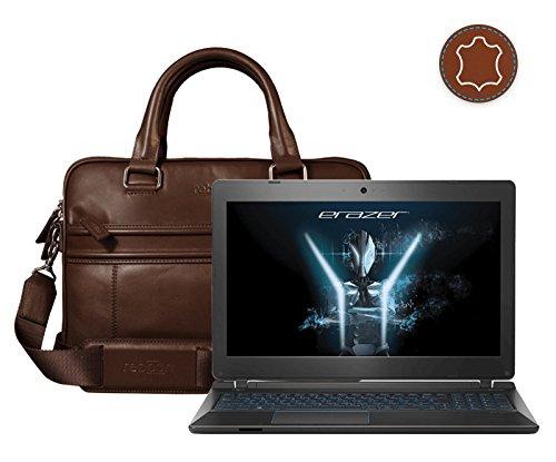 Leder Laptoptasche für Damen/Herren passend für Medion ERAZER P6681 | Braun